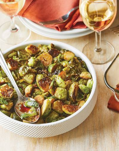 Pan-Roasted Brussels Sprouts with honey-balsamic glaze
