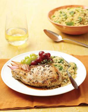 Roast Herb Chicken with Grapes & Shallots
