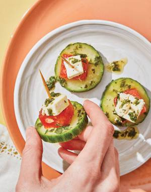 Cucumber-Watermelon-Feta Stacks with Mint-Lime Vinaigrette