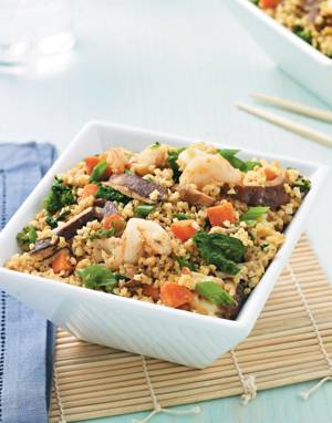 Asian Millet with Shrimp & Mustard Greens