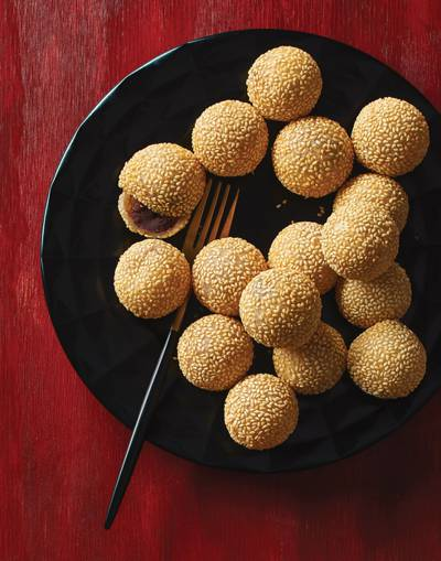 Sesame Balls (Jian Dui) with red bean paste