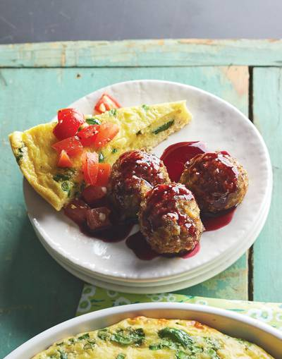 Breakfast Sausage Meatballs with blackberry glaze