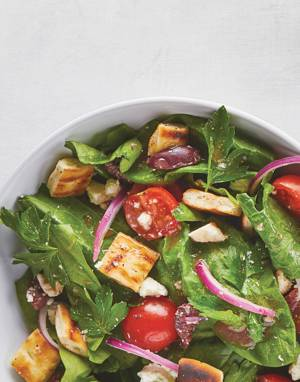 Greek Spinach Salad with Pita Croutons