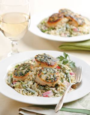 Green Goddess Pasta Salad with Herbed Scallops