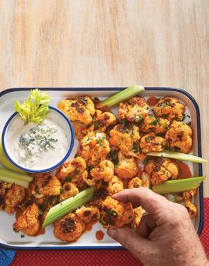 Buffalo Cauliflower with Yogurt-Blue Cheese Dip