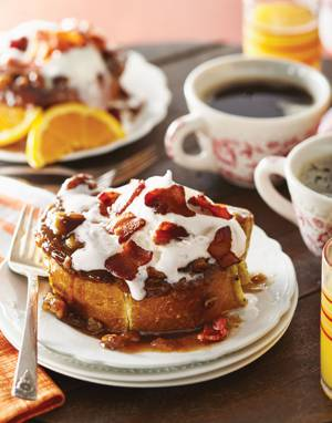 Sticky Bun Casserole with Whipped Cream & Bacon