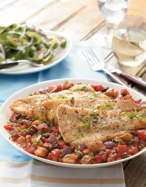 Eggplant Caponata with Black Sea Bass
