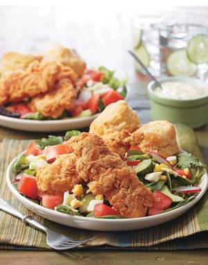 Chicken Tenders Salad with Egg Dressing