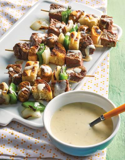 Philly Cheese Steak Skewers with provolone sauce