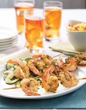 Spicy Shrimp Satay with Lime-Marinated Cucumbers
