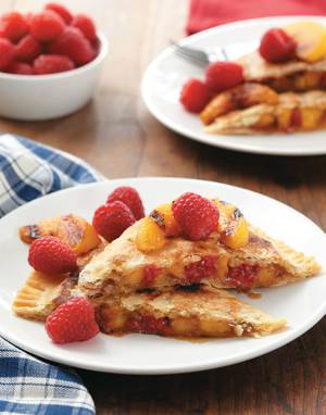 Peach & Raspberry Grilled Pie