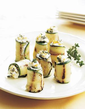 Grilled Zucchini Roll-Ups with Feta & Fresh Herbs