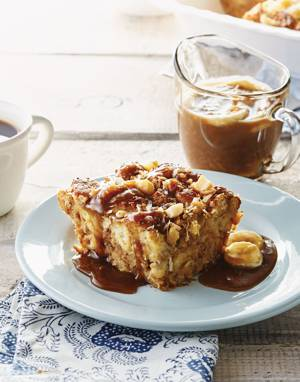 Coconut-Banana Bread Pudding with Coconut-Caramel Sauce