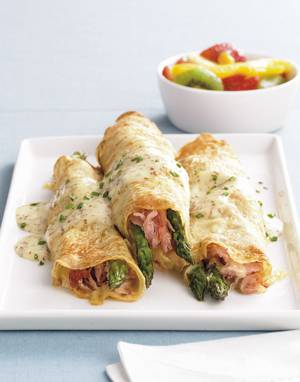 Ham, Asparagus & Swiss Cheese Crêpes with mustard sauce