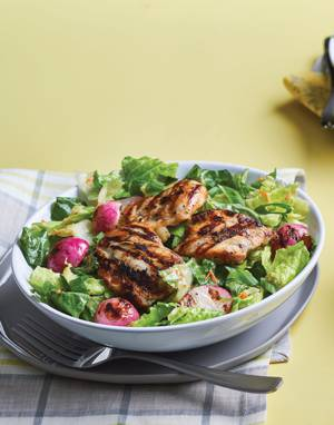 Grilled Chicken & Radish Salad with Carrot-Miso Dressing