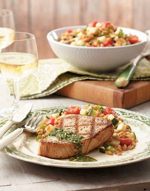 Grilled Tuna with Italian Salsa Verde