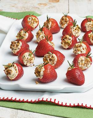 Strawberry Poppers with Rosemary and Pistachios