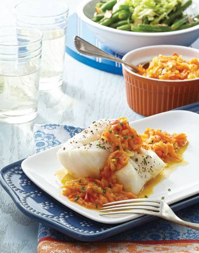 Cod Fillets with Carrot-Ginger Sauce
