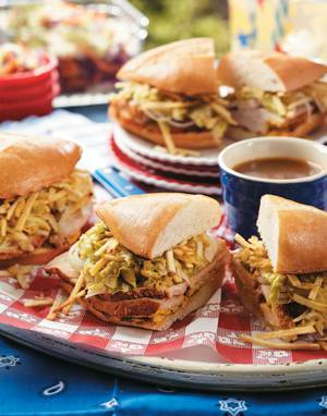 Pork Sandwiches Au Jus with Quick-Pickled Lettuce