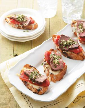 Steak Bruschetta with Herbs & Roasted Red Peppers