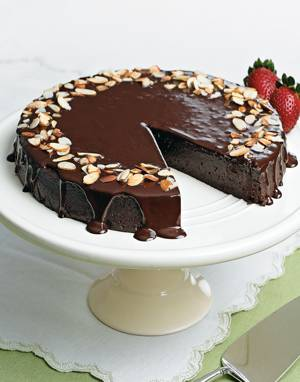 Chocolate-Almond Torte with Ganache Topping