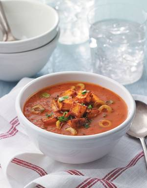 Spanish Tomato Soup with Paprika-Roasted Potatoes