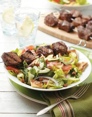 Fattoush Salad with Steak Kebabs