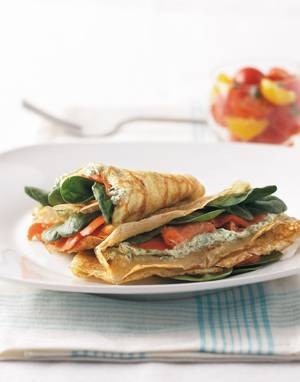 Smoked Salmon Crêpes with herbed cheese & fresh spinach
