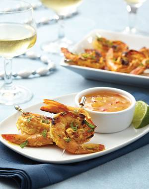 Tandoori Shrimp Skewers with Pineapple Chutney