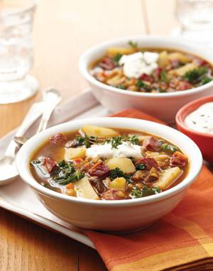 Corned Beef Colcannon Soup