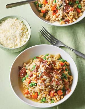 Barley Risotto with peas, carrots & fresh herbs