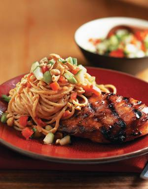 Grilled Asian Chicken with Peanut Sauce