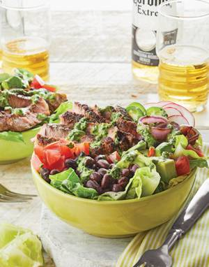 Steak Taco Bowls with Cilantro-Lime Dressing