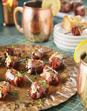 Prosciutto-Wrapped Dates with Walnuts & Goat Cheese