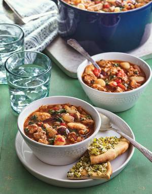 Greek Pork & Spinach Stew with Beans and Olives