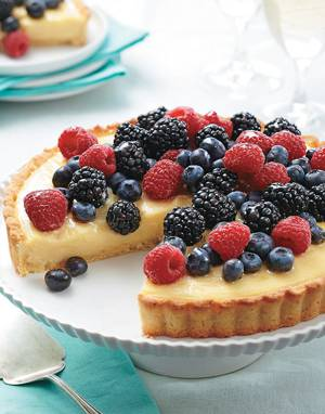 Summer Fruit Tart with honey-lemon cream and fresh berries