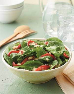Spinach Salad with Red Peppers