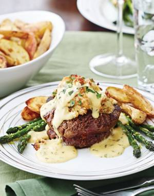 Stuffed Filet Mignon Oscar with crabmeat filling