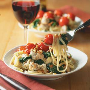 Chicken Linguine with Candied Cherry Tomatoes