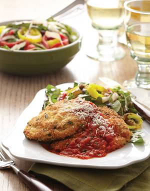 Milanese-Style Chicken Cutlets with Tomato & Roasted Pepper Sauce