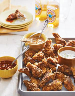 All-Purpose Chicken Wings with Three Dipping Sauces