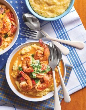 Shrimp & Grits with Tomato Cream Sauce