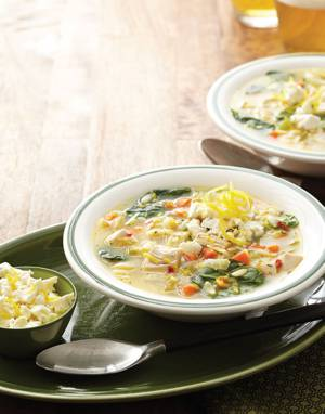 Lemon & Orzo Soup with Spinach and Turkey