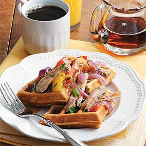 Sweet Potato Waffles with Turkey Hash