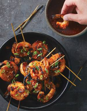 Korean Shrimp Skewers with Honey-Gochujang Sauce