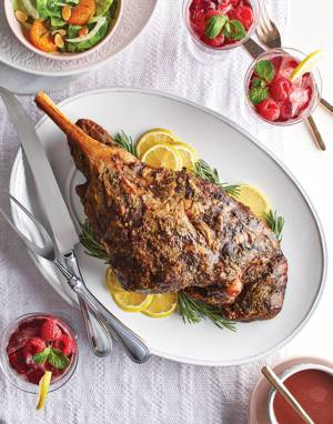 Rosemary & Garlic Roasted Leg of Lamb with Shrewsbury Sauce